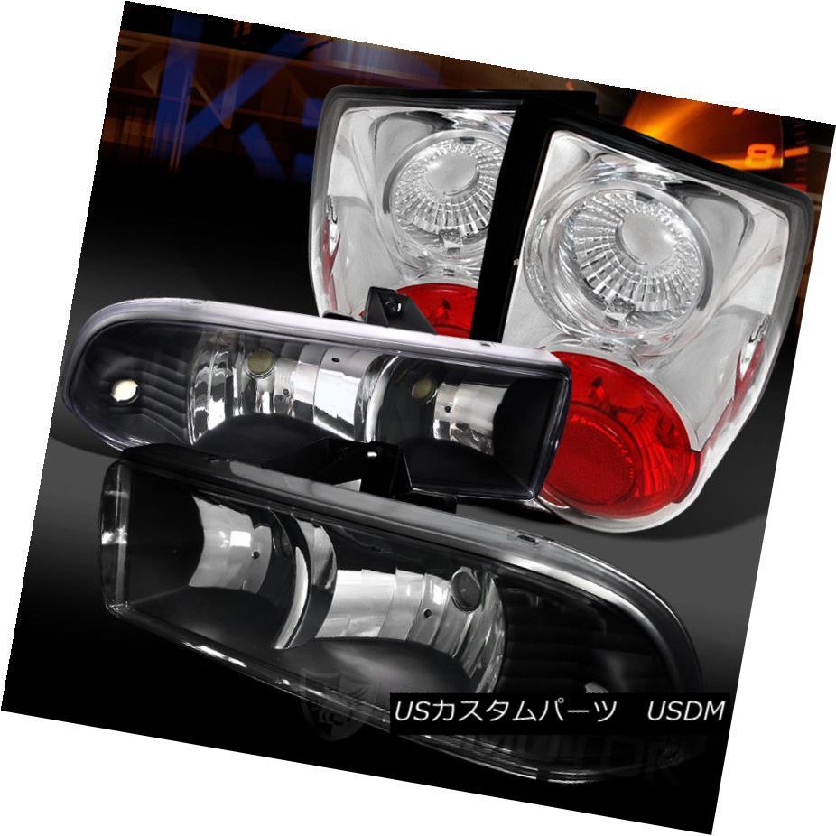 ヘッドライト 98-04 Chevy S10 Pickup Euro Black Headlights+Clear Tail Brake Lamps 98-04 Chevy S10 Pickupユーロブラックヘッドライト+ Cle  arテールブレーキランプ