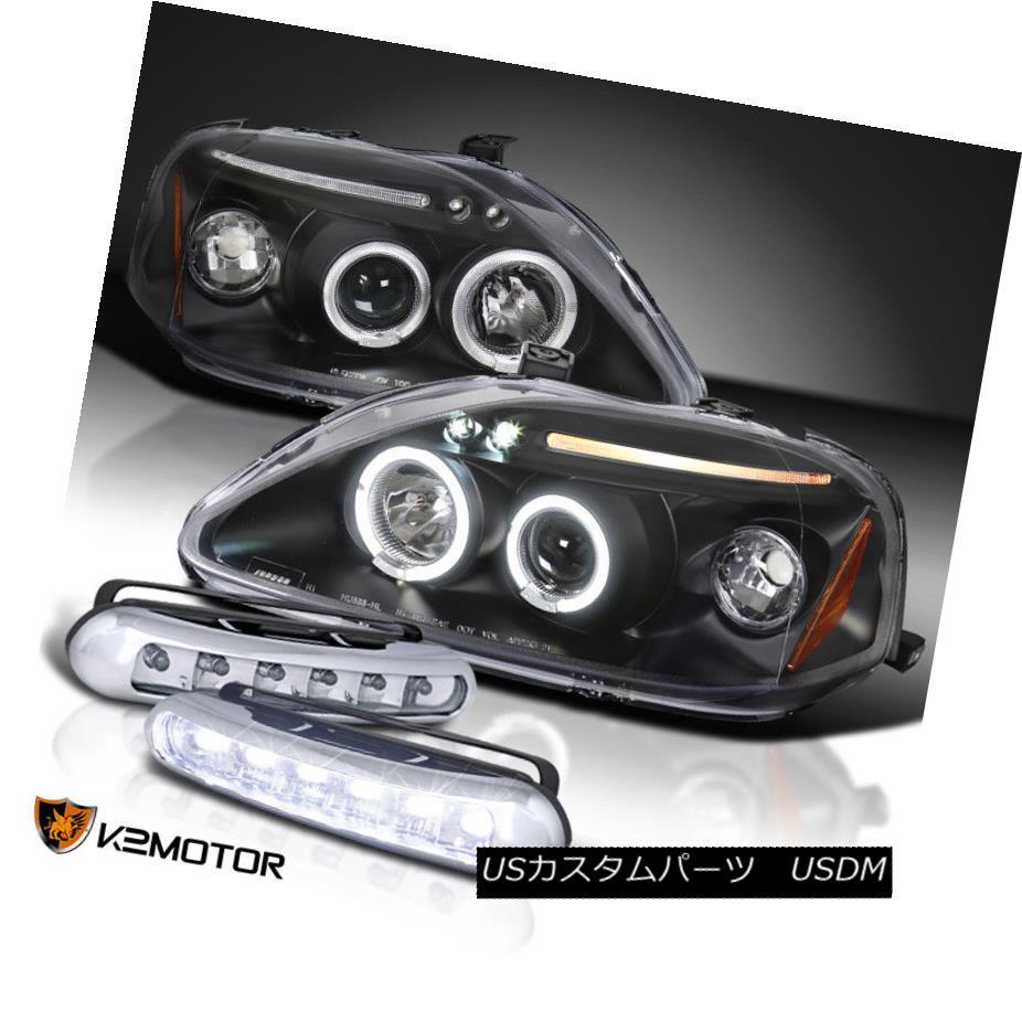 ヘッドライト Fit 99-00 Civic Black Halo Projector Headlights w/ LED Daytime Fog Lamps フィット99-00シビックブラックハロープロジェクターヘッドライトLED昼間フォグランプ