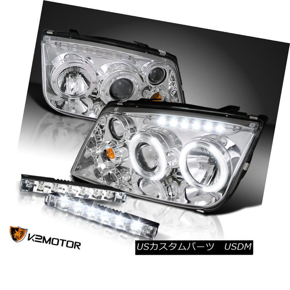 ヘッドライト Chrome For 99-04 Jetta Clear Projector Halo Headlights+6-LED Bumper Fog Lamp DRL 99-04ジェッタクリアプロジェクター用クロームハローヘッドライト+ 6-L  EDバンパーフォグランプDRL