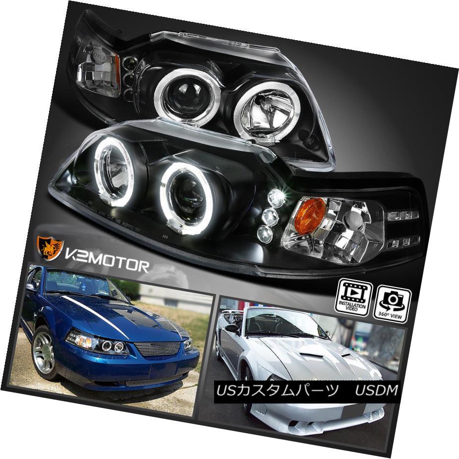 ヘッドライト 1999-2004 Ford Mustang LED Halo Projector Headlights Lamps Black Left+Right 1999-2004フォードマスタングLEDハロープロジェクターヘッドライトランプブラック左右