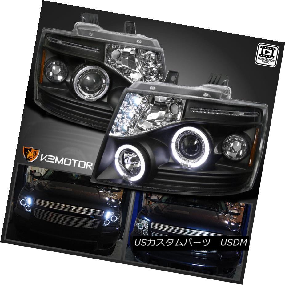 ヘッドライト 2007-2014 Chevy Tahoe Avalanche Suburban LED Halo Projector Headlights [Black] 2007-2014シボレータホアバランシェ郊外LEDハロープロジェクターヘッドライト[ブラック]