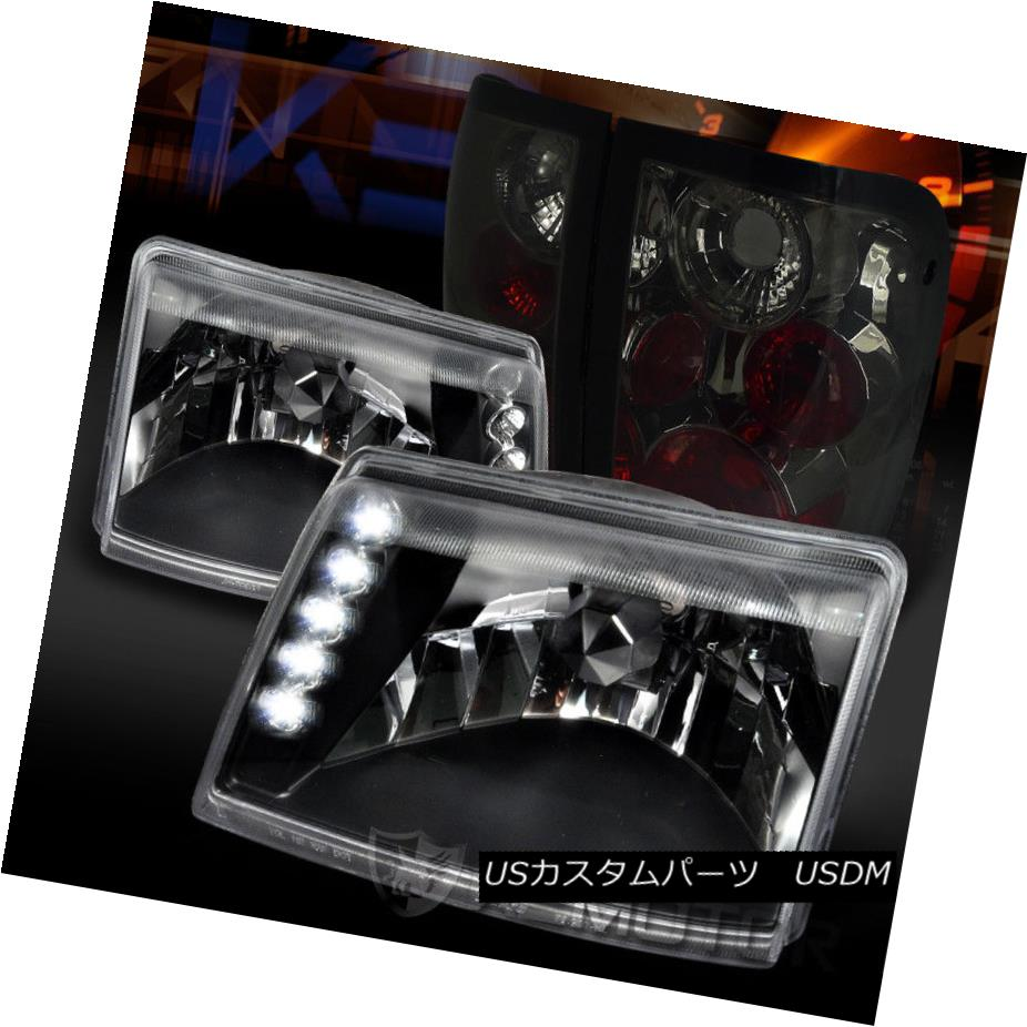 ヘッドライト Ford 98-00 Ranger Black LED DRL Headlights+Smoke Tail Brake Lamps フォード98-00レンジャーブラックLED DRLヘッドライト+スモーク keテールブレーキランプ