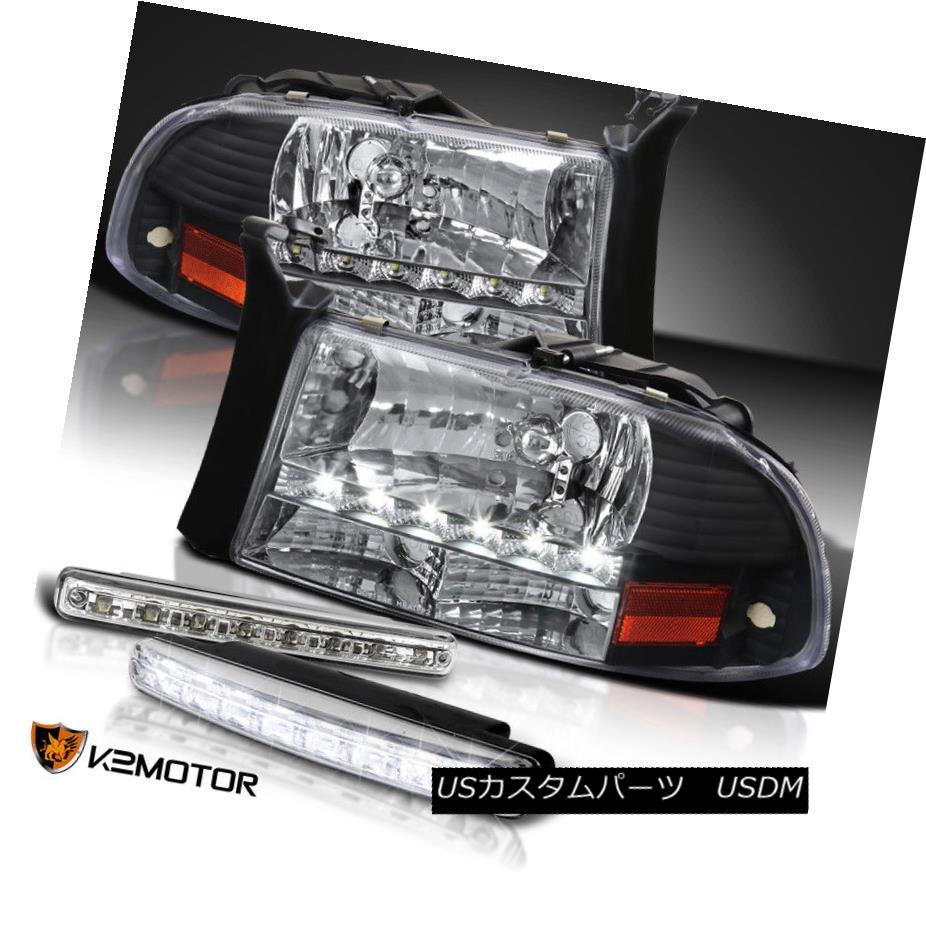 ヘッドライト 97-04 Dodge Dakota Durango Black LED DRL Headlight+ 8 LED Bumper Fog Light 97-04ダッジダコタデュランゴブラックLED DRLヘッドライト+ 8 LEDバンパーフォグライト