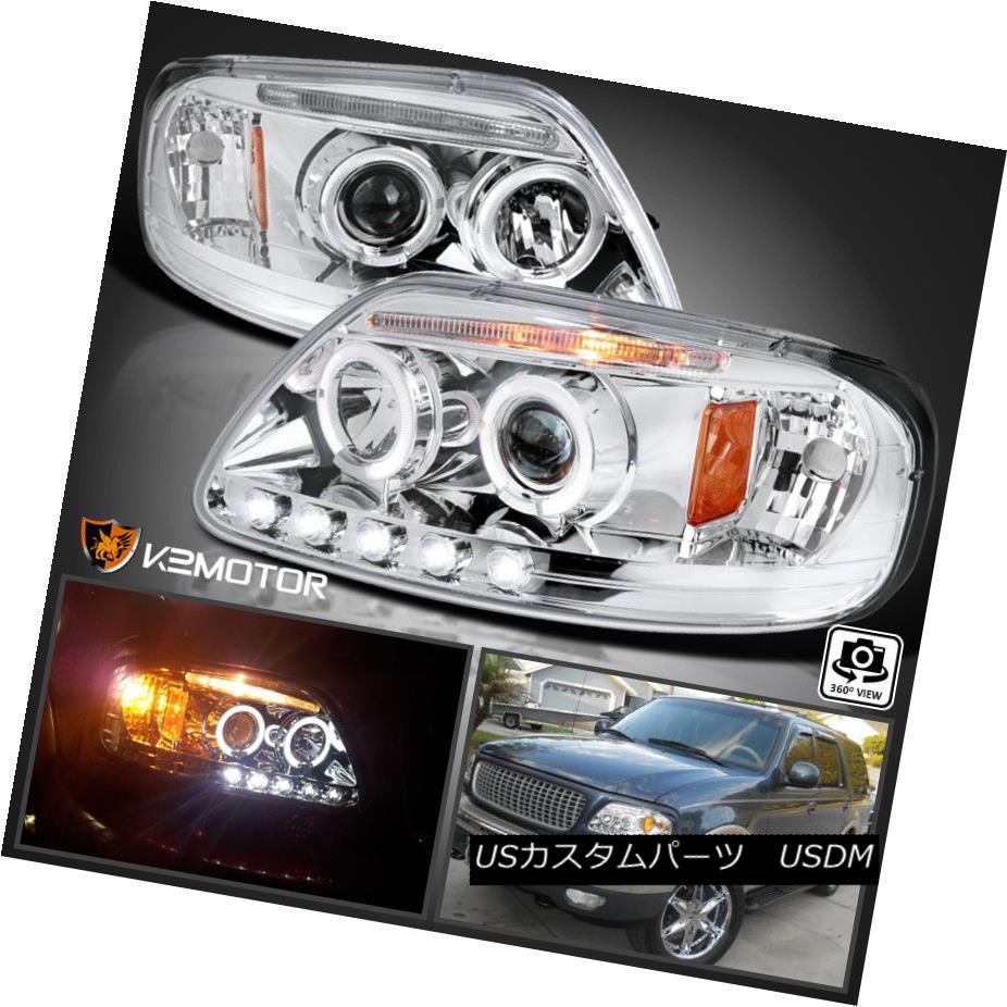 ヘッドライト 1997-2003 Ford F150 Expedition Halo LED Projector Headlights Left+Right 1997-2003 Ford F150遠征Halo LEDプロジェクターヘッドライト左+右