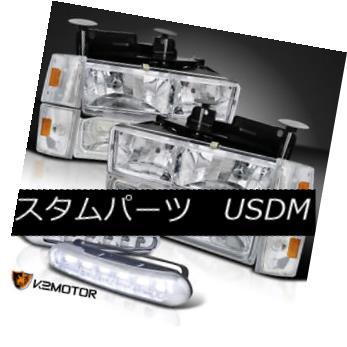 ヘッドライト 88-93 Gmc Sierra C/K Pickup Headlights+Signal+Bumper Lamps+LED DRL Fog Lights 88-93 Gmc Sierra C / Kピックアップヘッドライト+ Sig ナル+バンパーランプ+ LED DRLフォグライト