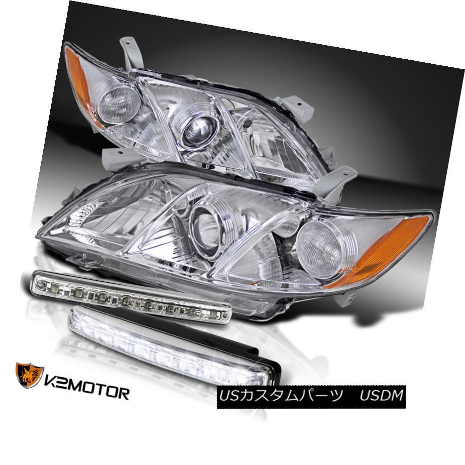 ヘッドライト For Toyota 07-09 Camry Clear Amber Projector Headlights+8-LED DRL Fog Lamps トヨタ07-09カムリクリアアンバープロジェクターヘッドライト+ 8-L  ED DRLフォグランプ