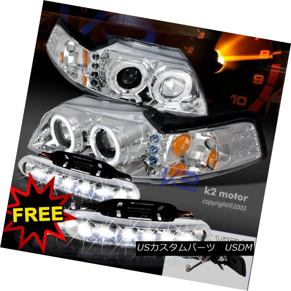 05-09 Ford Mustang GT Chrome Halo Projector Headlights+6-LED Bumper Fog Lamps
