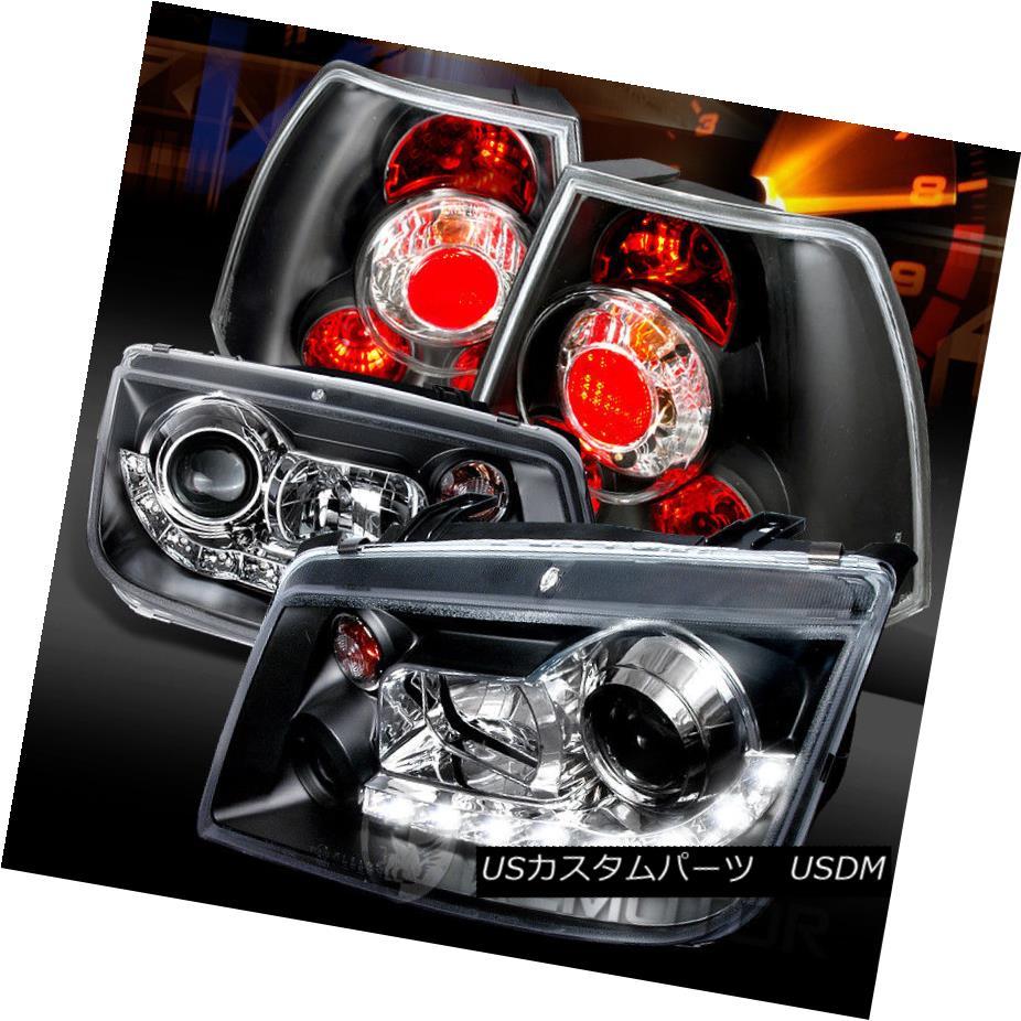 ヘッドライト Fit 99-04 Jetta Black R8 LED Loop Projector Headlights+Black Tail Lamps フィット99-04ジェッタブラックR8 LEDループプロジェクターヘッドライト+ Bla  ckテールランプ