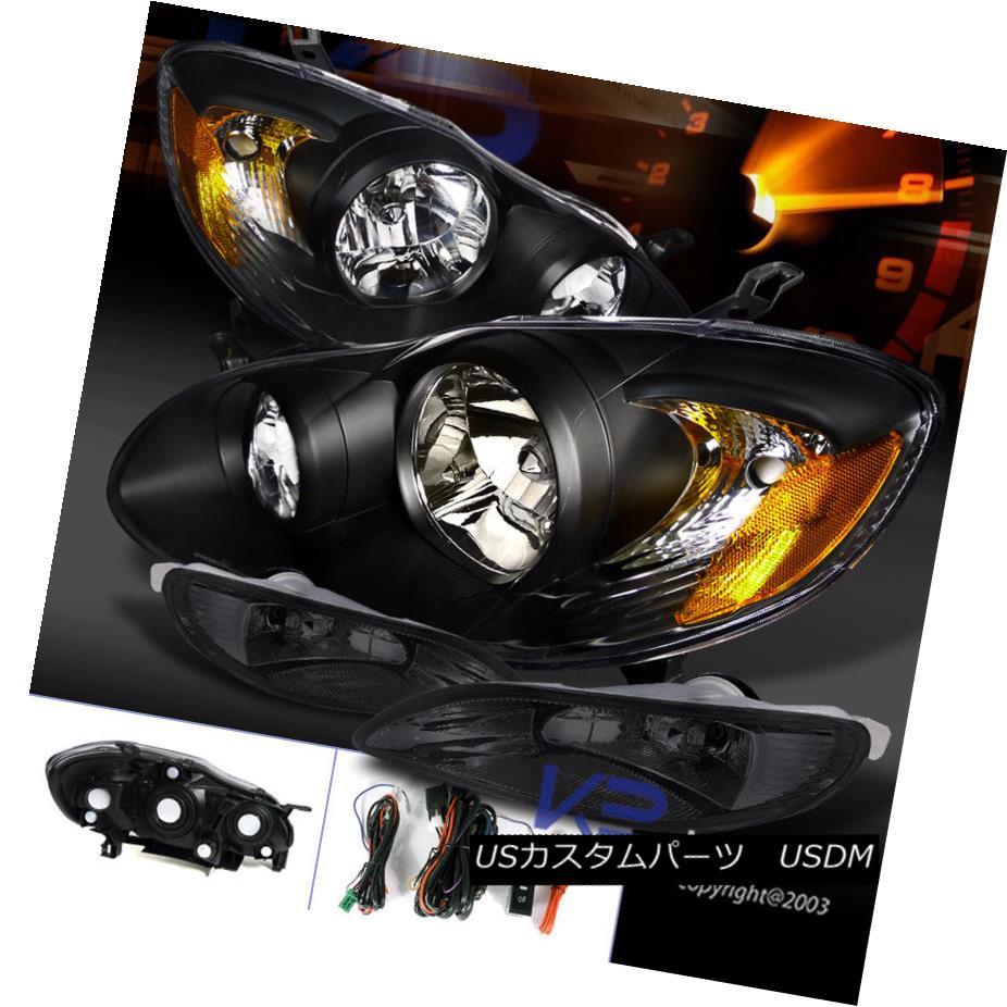 ヘッドライト For 05-08 Toyota Corolla JDM Crystal Black Headlights+Smoke Bumper Fog Lamps 05-08トヨタカローラJDMクリスタルブラックヘッドライト+スモー keバンパーフォグランプ