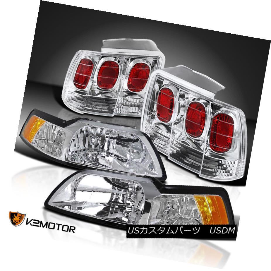 ヘッドライト 1999-2004 Ford Mustang Cobra Headlights+Rear Brake Lamps Tail Lights Replacement 1999-2004フォードマスタングコブラヘッドライト+リア rブレーキランプテールライト交換