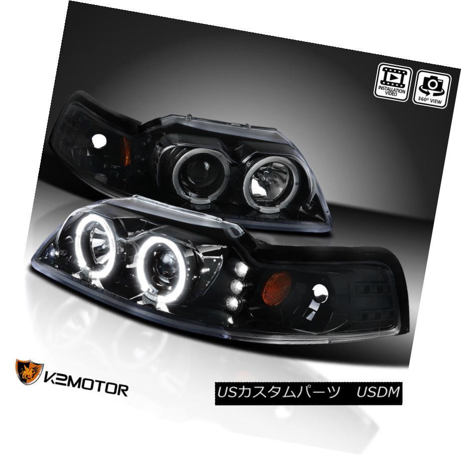 ヘッドライト [Jet Black] 1999-2004 Ford Mustang LED+Dual Halo Projector Headlights Left+Right [ジェットブラック] 1999-2004フォードマスタングLED +デュアルヘイロープロジェクターヘッドライト左+右
