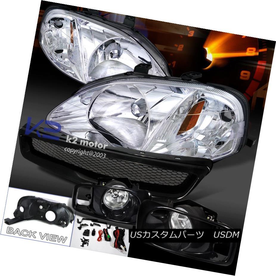 ヘッドライト Fit 99-00 Civic JDM Chrome Headlights+Clear Fog Lamps+T-R Abs Mesh Hood Grille フィット99-00シビックJDMクロームヘッドライト+ Cle  arフォグランプ+ T-R Absメッシュフードグリル