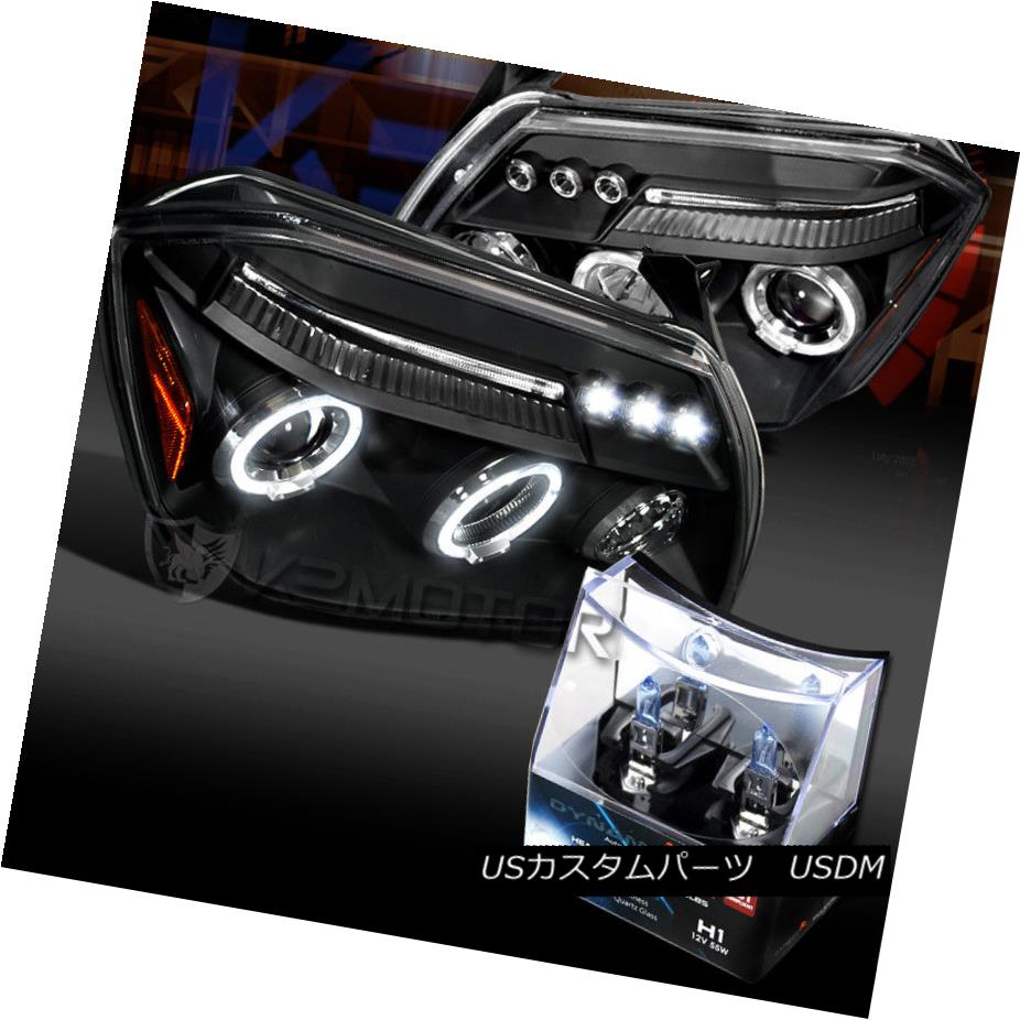 ヘッドライト 05-07 Dodge Magnum Black LED Halo Projector Headlights+H1 Halogen Bulbs 05-07 Dodge Magnum Black LEDハロープロジェクターヘッドライト+ H1ハロゲン電球