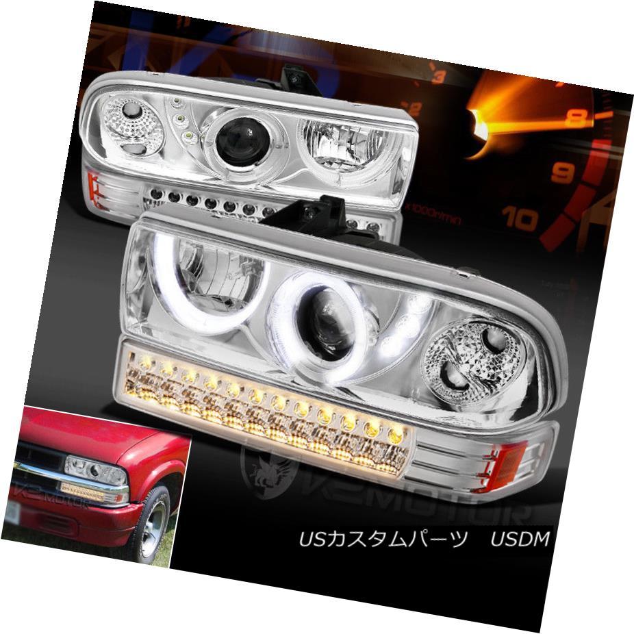 ヘッドライト 1998-2004 Chevy S10 Blazer Halo LED Clear Projector Headlights+LED Bumper Lights 1998-2004 Chevy S10 Blazer Halo LEDプロジェクターヘッドライト+ LEDバンパーライト