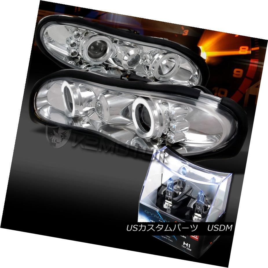 ヘッドライト 98-02 Chevy Camaro Chrome LED Halo Projector Headlights+H1 Halogen Bulbs 98-02シボレーカマロクロームLEDハロープロジェクターヘッドライト+ H1ハロゲン電球