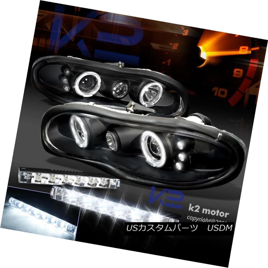 ヘッドライト Black 98-02 Chevy Camaro Halo Projector Headlights+6-LED Bumper Fog Lights DRL ブラック98-02シボレーカマロハロープロジェクターヘッドライト+ 6-L  EDバンパーフォグライトDRL