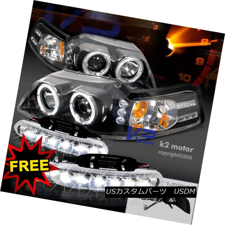 ヘッドライト 99-04 Ford Mustang Black Halo Projector Headlights+Driving LED Fog Lamps Pair 99-04 Ford Mustangブラックハロープロジェクターヘッドライト+ドライ ving LEDフォグランプペア