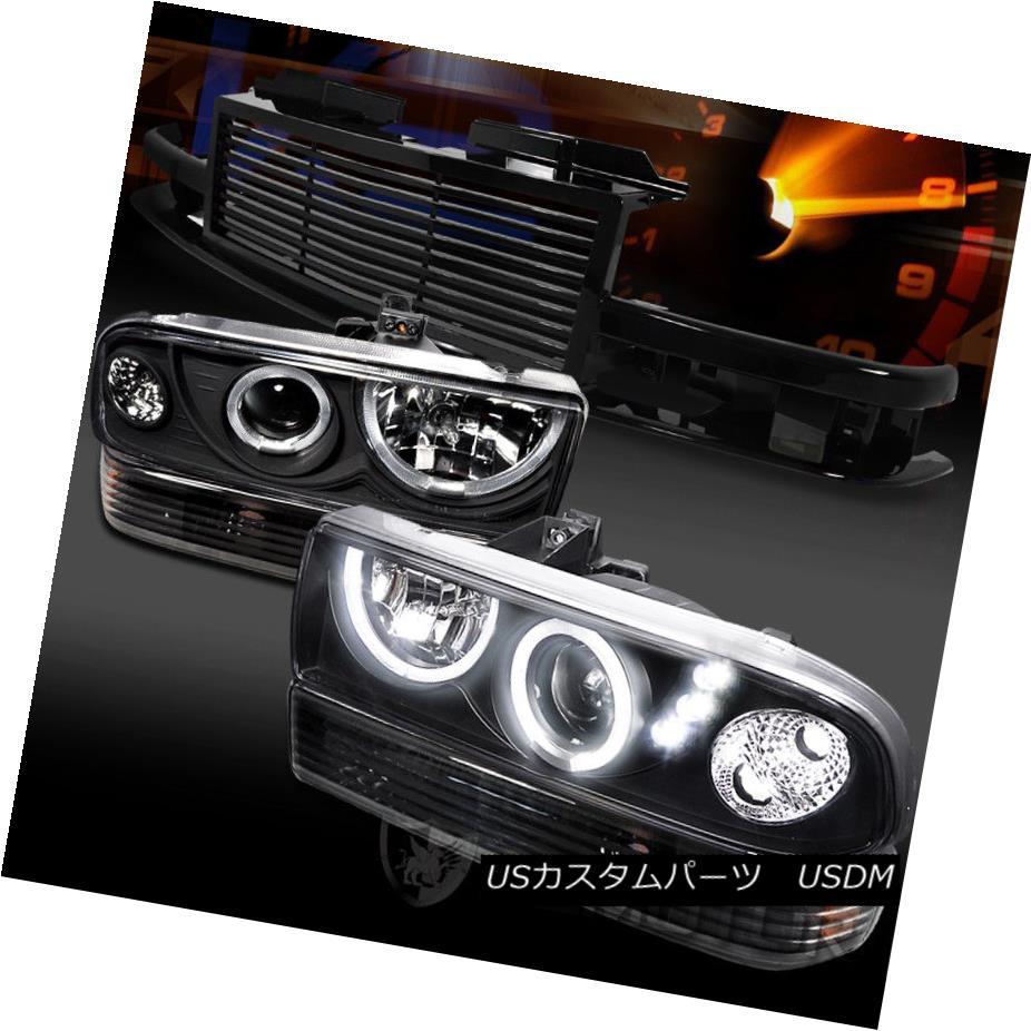 ヘッドライト 98-04 Chevy S10 Blazer Black LED Projector Headlights Bumper Lamps+Grille 98-04 Chevy S10 BlazerブラックLEDプロジェクターヘッドライトバンパーランプ+グリル