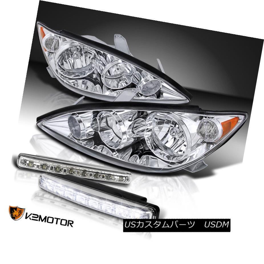 ヘッドライト For 2005-2006 Toyota Camry Chrome Headlights+White 6000K LED DRL Fog Lamps 2005-2006トヨタカムリクロームヘッドライト+ Whi 用6000K LED DRLフォグランプ