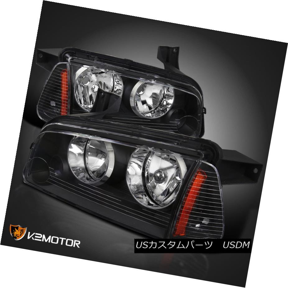 ヘッドライト 2006-2010 Dodge Charger Black Replacement Headlights+Signal Corner Lights Pair 2006-2010 Dodge Chargerブラック交換ヘッドライト+ Sig  nalコーナーライトペア