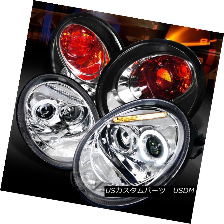 ヘッドライト Fit 98-05 Beetle Chrome Halo LED Projector Headlights+Black Tail Lamps フィット98-05ビートルクロームハローLEDプロジェクターヘッドライト+ Bla  ckテールランプ