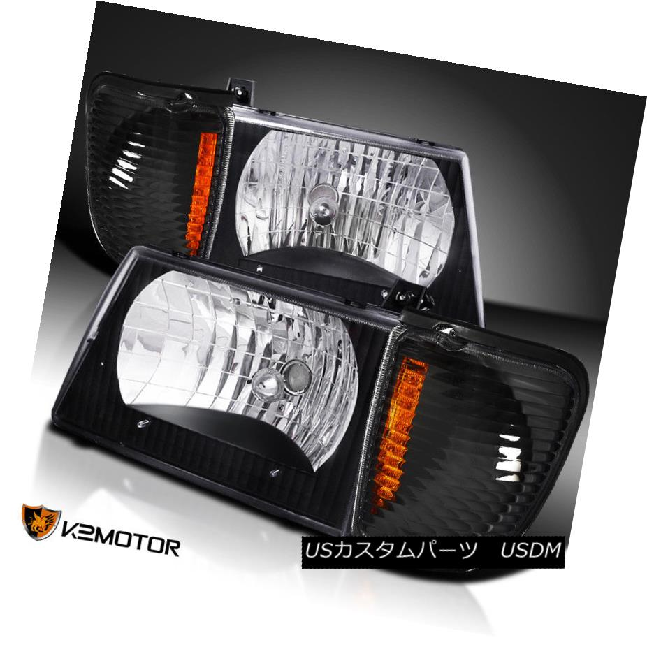 ヘッドライト 92-06 Econoline Black Diamond Headlights+Turn Signal Corner Lamps 92-06 Econolineブラックダイヤモンドヘッドライト+ Tur  n信号コーナーランプ