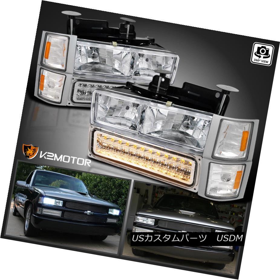 ヘッドライト 94-98 Chevy C/K Tahoe Suburban Chrome Headlights+LED Bumper Lamps+Corner Lights 94-98シボレーC / Kタホ郊外のクロームヘッドライト+ LEDバンパーランプ+コーナーライト