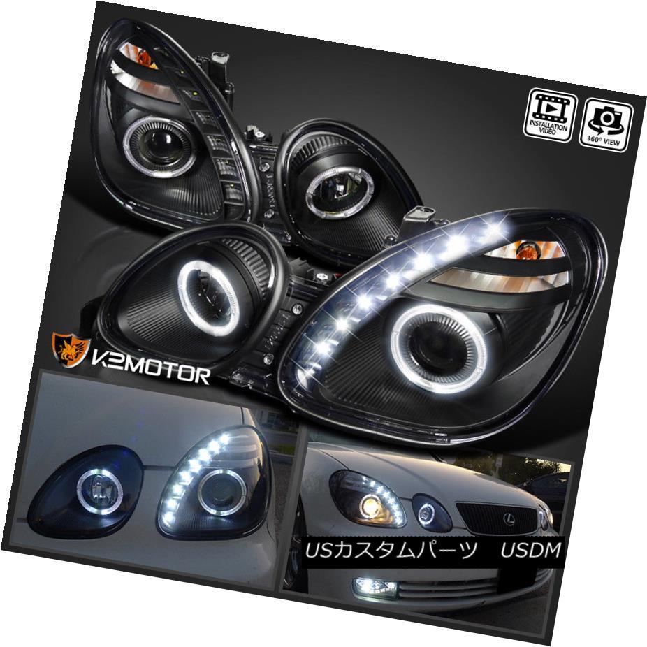 ヘッドライト 98-05 Lexus GS300 GS400 JDM Black Projector Headlights+SMD LED DRL 98-05レクサスGS300 GS400 JDMブラックプロジェクターヘッドライト+ SMD LED DRL