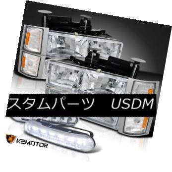 ヘッドライト 94-98 C10 Clear Headlights W/ Bulbs+Corner+Bumper Lights+LED Fog DRL Lamps Set 94-98 C10クリアヘッドライトW /球根+角+ B  umperライト+ LEDフォグDRLランプセット