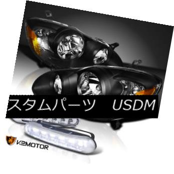 ヘッドライト For 03-08 Toyota Corolla Black Diamond Headlights w/ White LED Daytime Fog Lamps 03-08トヨタカローラブラックダイヤモンドヘッドライト、ホワイトLED昼間フォグランプ