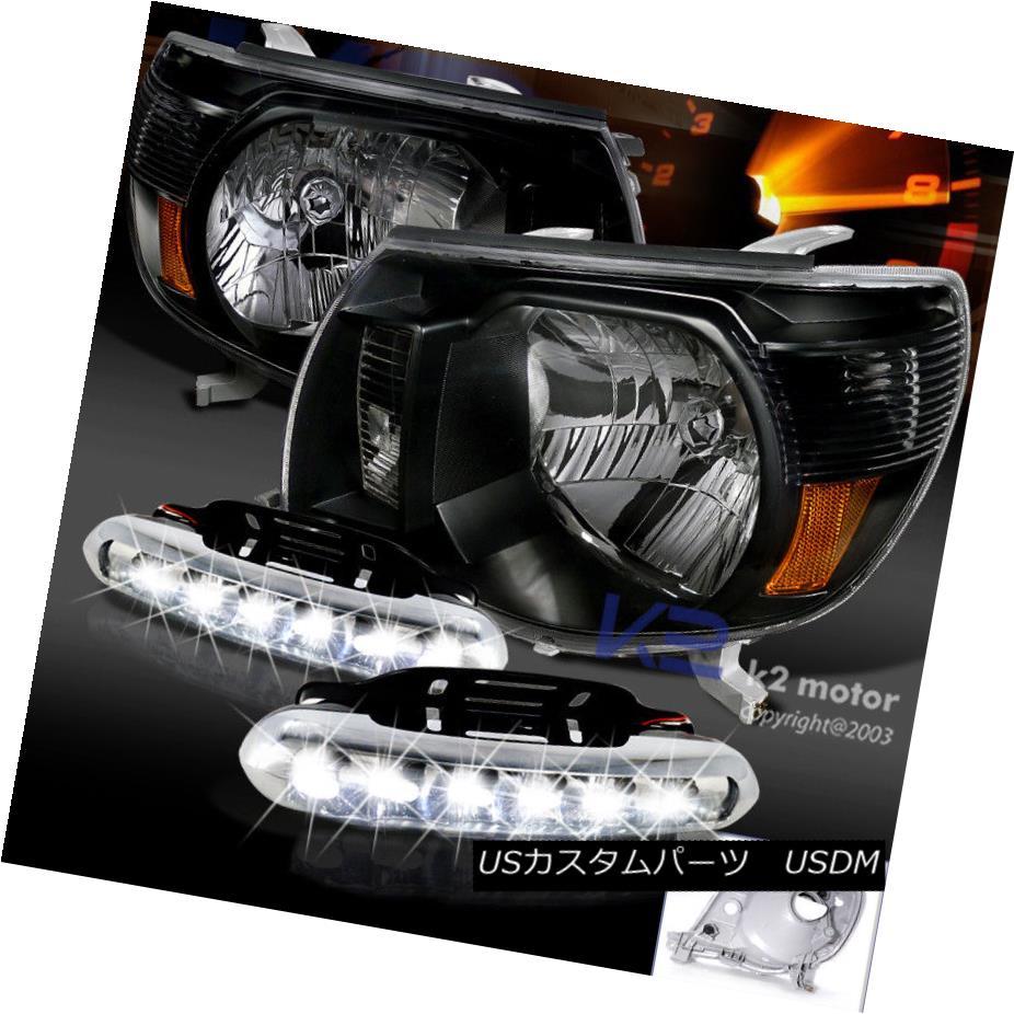 ヘッドライト For JDM Black 2005-2011 Tacoma Headlights+LED DRL Daytime Running Fog Lamp JDM Black 2005-2011用タコマヘッドライト+ LED DRL昼間走行フォグランプ