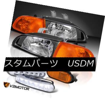 ヘッドライト For 92-95 Civic Black Headlight+Smoke Amber Corner Light+Side Marker+LED DRL 92-95シビックブラックヘッドライト+スモーク eアンバーコーナーライト+サイドマーカー+ LED DRL