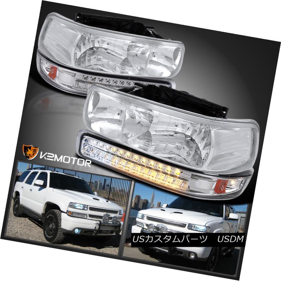 ヘッドライト 99-02 Chevy Silverado 00-06 Tahoe Suburban Headlights+LED Signal Bumper Lights 99-02 Chevy Silverado 00-06タホ郊外ヘッドライト+ LEDシグナルバンパーライト