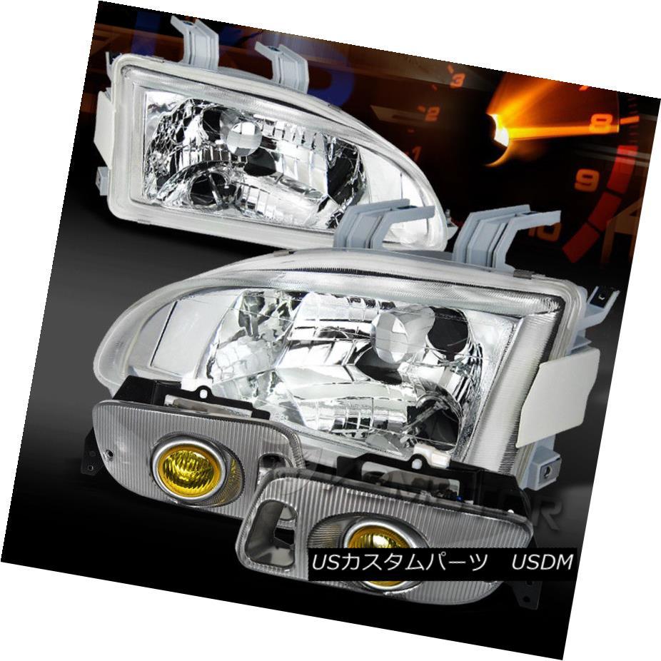 ヘッドライト Fit 92-95 Civic 2/3DR JDM Chrome Clear Headlights+Yellow Fog Lamps フィット92-95シビック2 / 3DR JDMクロームクリアヘッドライト+イエロー 低フォグランプ