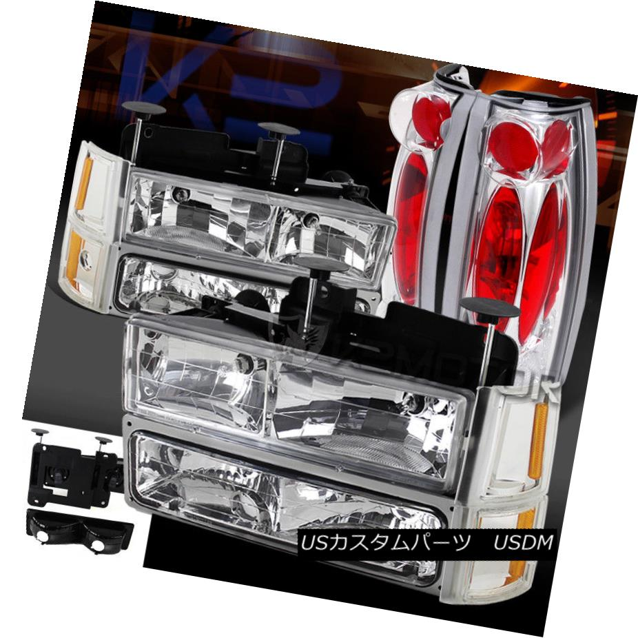 ヘッドライト 94-98 GMC C10 Sierra Suburban Chrome Headlights Bumper Corner Lights+Tail Lamps 94-98 GMC C10シエラ郊外クロームヘッドライトバンパーコーナーライト+テールランプ