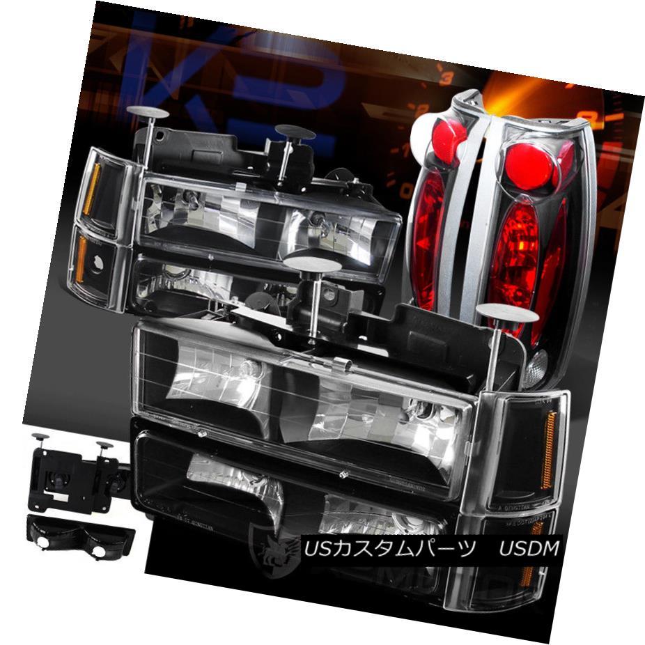 ヘッドライト 94-98 GMC C10 Suburban Black Headlights Bumper Corner Signal Lights+Tail Lamps 94-98 GMC C10郊外のブラックヘッドライトバンパーコーナー信号ライト+テールランプ