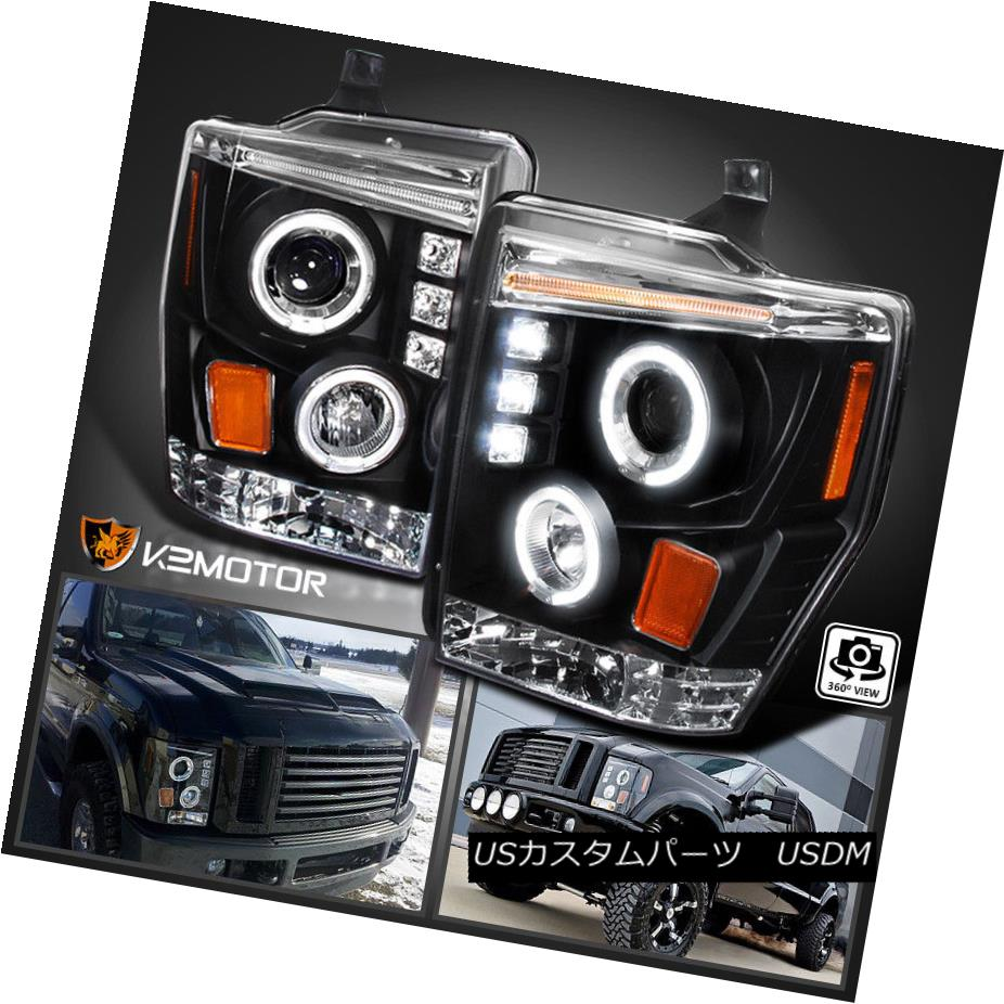 ヘッドライト 2008-2010 Ford F250 F350 F450 LED Halo Projector Headlights Black 2008-2010 Ford F250 F350 F450 LEDハロープロジェクターヘッドライトブラック