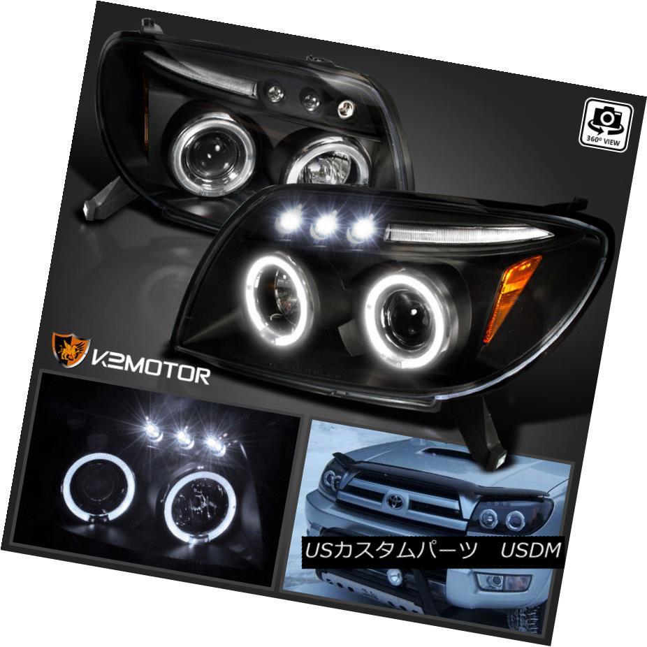 ヘッドライト For 2003-2005 Toyota 4Runner Sport LED Halo Projector Headlights Black 2003?2005年トヨタ4Runner Sport LED Haloプロジェクターヘッドライトブラック