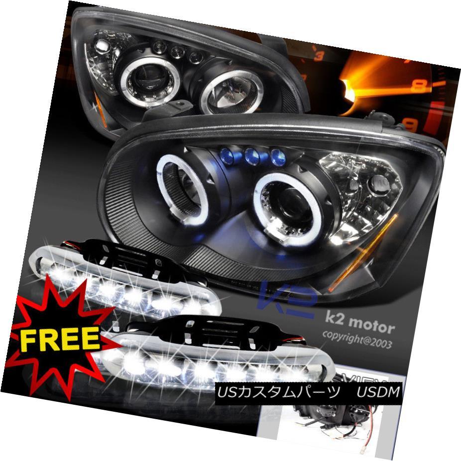ヘッドライト For 04-05 Impreza WRX STi Halo Projector Headlights Black+LED DRL Fog Lamp 04-05インプレッサWRX STiハロープロジェクターヘッドライトブラック+ LED DRLフォグランプ