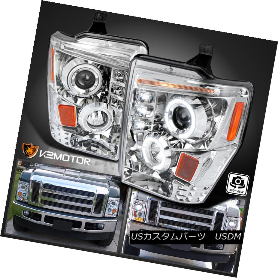 ヘッドライト 2008-2010 Ford F250 F350 F450 Super Duty LED DRL Projector Headlights Chrome 2008-2010 Ford F250 F350 F450スーパーDuty LED DRLプロジェクターヘッドライトクローム