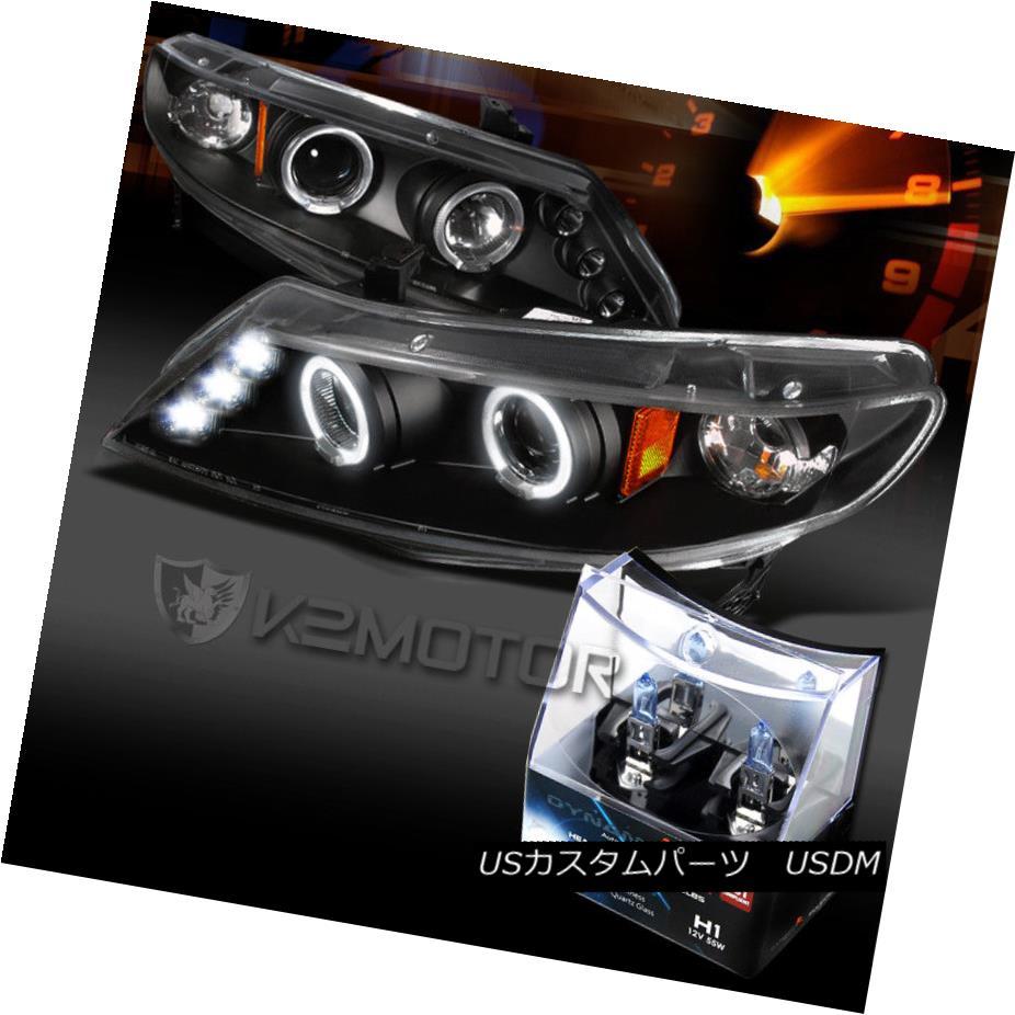 ヘッドライト For 06-11 Honda Civic 4Dr Black LED Halo Projector Headlights+H1 Halogen Bulbs 06-11ホンダシビック4DrブラックLEDハロープロジェクターヘッドライト+ H1ハロゲン電球
