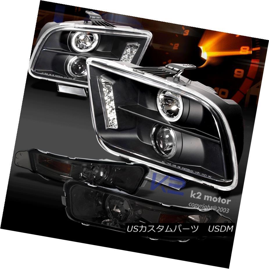 ヘッドライト 05-09 Mustang LED Halo Projector Headlights Black+Smoke Bumper Lamp 05-09 Mustang LEDハロープロジェクターヘッドライトブラック+スモークバンパーランプ