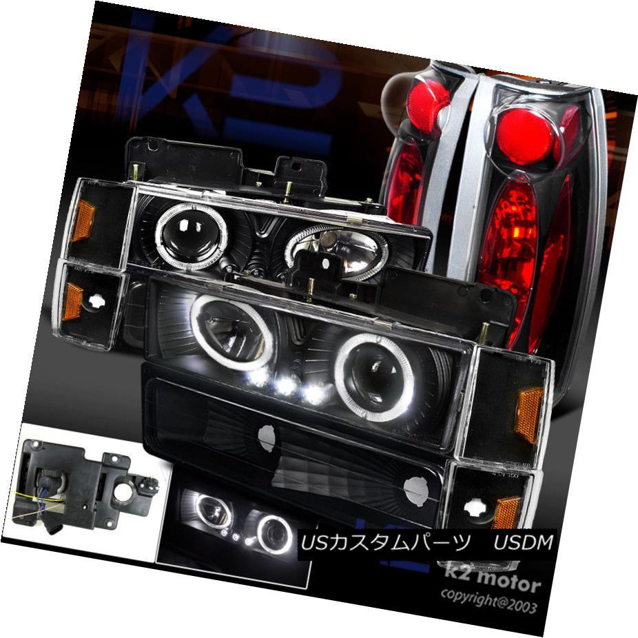 ヘッドライト 88-93 Chevy C/K 1500 Black Halo LED Projector Headlight+Bumper Corner+Tail Light 88-93 Chevy C / K 1500 Black Halo LEDプロジェクターヘッドライト+バンプ er Corner + Tail Light