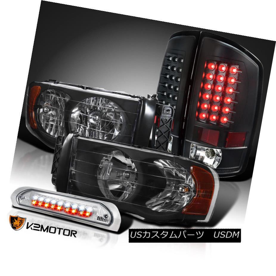 ヘッドライト 02-05 Dodge Ram 1500/2500/3500 Black Headlights+LED Tail Lamps+Clear 3rd Brake 02-05 Dodge Ram 1500/2500/3500ブラックヘッドライト+ LEDテールランプ+クリア第3ブレーキ