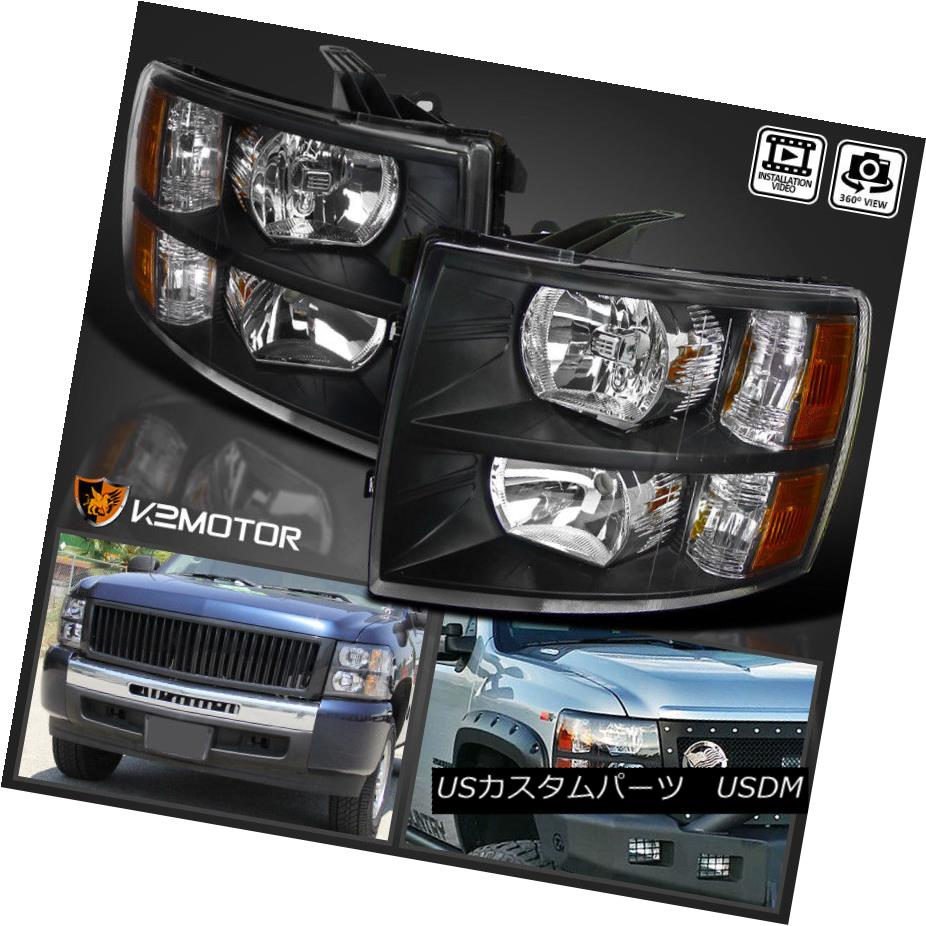 ヘッドライト 2007-2014 Chevy Silverado 1500/2500/3500HD Black Replacement Headlights PAIR 2007-2014 Chevy Silverado 1500/2500/3500  HDブラック代替ヘッドライトペア