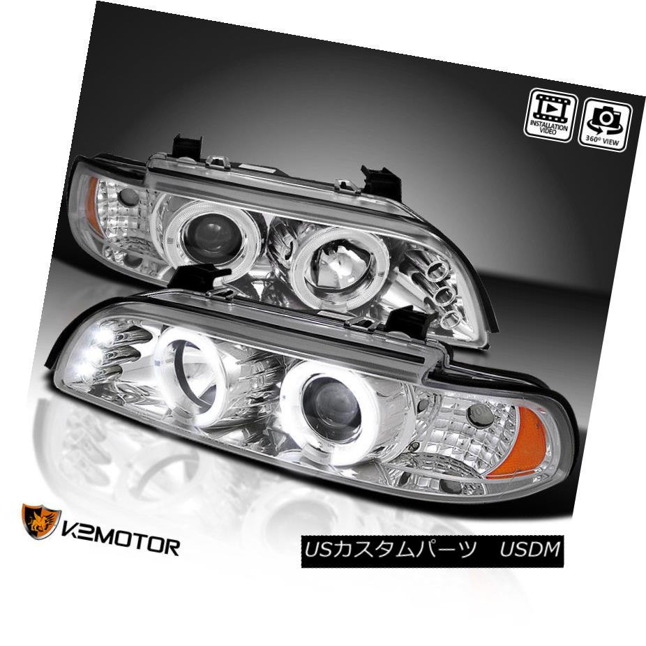 ヘッドライト 1996-2003 BMW E39 525I 530I 5 Series LED Halo Projector Headlights Chrome Pair 1996-2003 BMW E39 525I 530I 5シリーズLEDハロープロジェクターヘッドライトクロームペア