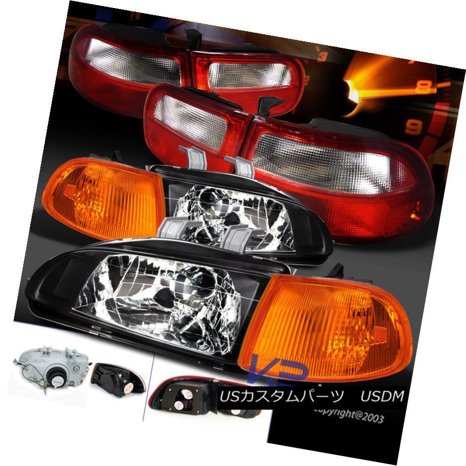 ヘッドライト For 92-95 Civic 3Dr Black Headlights+Amber Corner Lamps+Red/Clear Tail Lights 92-95シビック3Drブラックヘッドライト+アンバー コーナーランプ+レッド/クリーア rテールライト