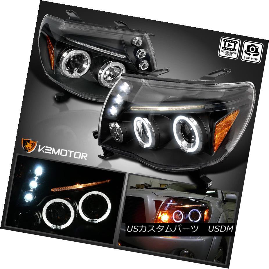 ヘッドライト For 2005-2011 Toyota Tacoma LED Halo Projector Headlights Black Left+Right 2005?2011年トヨタタコマLEDハロープロジェクターヘッドライトブラック左+右