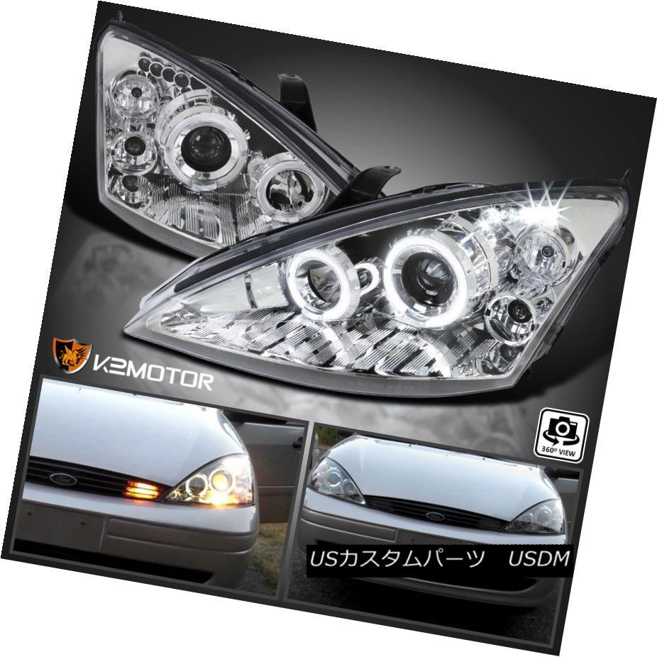 ヘッドライト 2000-2004 Ford Focus LED Halo Projector Headlights Chrome Pair 2000-2004フォードフォーカスLEDハロープロジェクターヘッドライトクロームペア