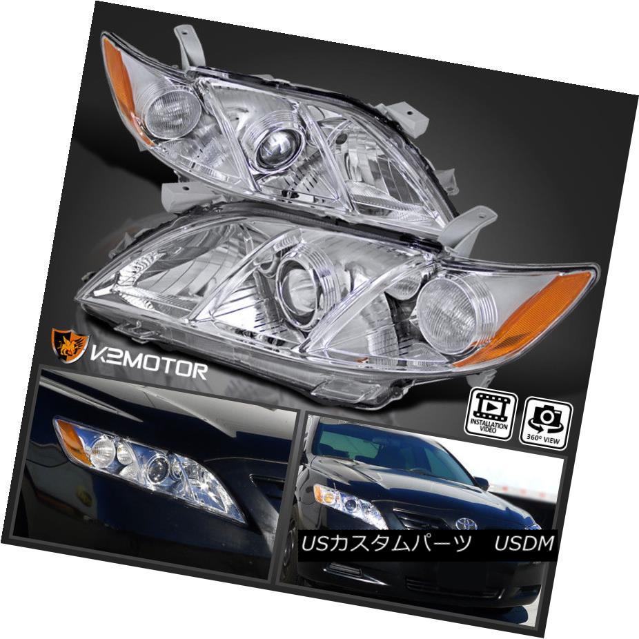 ヘッドライト For Toyota 2007-2009 Camry Crystal Clear JDM Amber Projector Headlights Pair トヨタ2007-2009カムリクリスタルクリアJDMアンバープロジェクターヘッドライトペア用